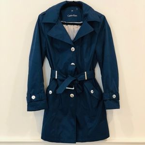 Calvin Klein navy trench with hood